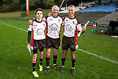 Referee Stu Girvan with assistant Liam Sargent and Gary Oakes. Counties Manukau Under 85kg Championship final rugby game between Papakura and Pukekohe played at Navigation Homes Stadium Pukekohe, on Saturday August 10th 2019. Pukekohe won the game 13 - 12 after leading 10 - 0 at halftime.<br /> Photo by Richard Spranger.