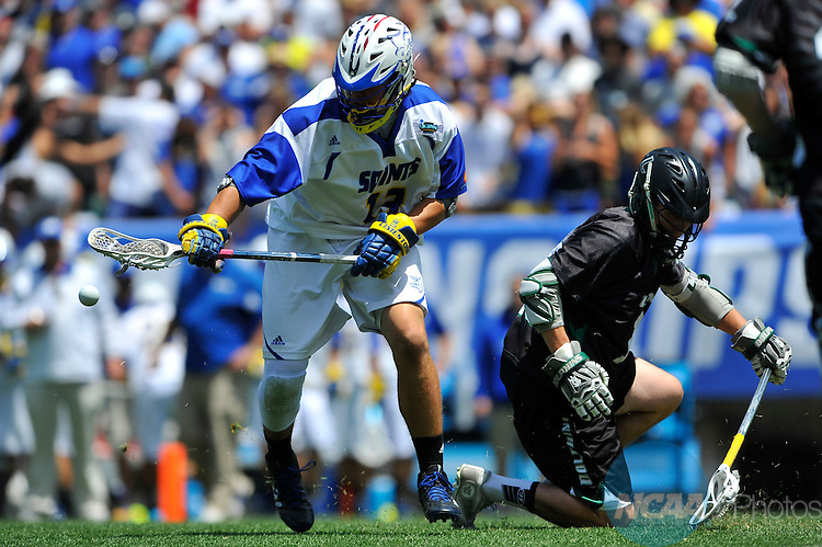 24 MAY 2015: Kevin Reisman (13) of Limestone College loses the ball against Le Moyne College during the Division II Men's Lacrosse Championship held at Lincoln Financial Field in Philadelphia, PA. Limestone defeated Le Moyne 9-6 for the national title. Larry French/NCAA Photos
