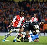 19.09.2019 Rangers v Feyenoord: Alfredo Morelos goes in on Keeneth Vermeer and is booked