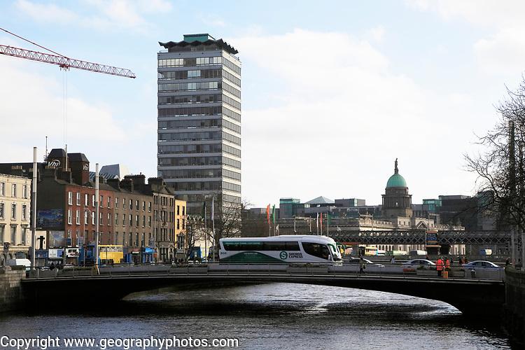 View of River Liffey towards Custom House Quay, Dublin city centre, Ireland, Republic of Ireland