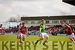 Tommy Walsh Kerry in action against Jamie O Sullivan and Kevin Crowley Cork in the National Football league in Austin Stack Park, Tralee on Sunday.