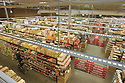 Overview of grocery store interior as seen from catwalk