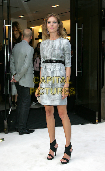 NATALIA VODIANOVA.Vogue 'Fashion's Night Out ' launch at Burberry's store in New Oxford Street, London, England..September 10th 2009.full length grey gray dress silver clutch bag box black sandals shoes belt pattern.CAP/ROS.©Steve Ross/Capital Pictures.