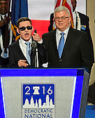 "Timmy Kelly, 23, of Philadelphia, Pennsylvania who was born blind and with cerebral palsy, sings the National Anthem to open the second day of the 2016 Democratic National Convention held at the Wells Fargo Center in Philadelphia, Pennsylvania on Tuesday, July 26, 2016. Timmy, a senior music major at Temple University is known as the Eagles' ""good luck charm"" because of their win record when he sings before their games.<br /> Credit: Ron Sachs / CNP<br /> (RESTRICTION: NO New York or New Jersey Newspapers or newspapers within a 75 mile radius of New York City)"