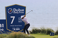 Lucas Bjerregaard (DEN) tees off the 7th tee during Thursday's Round 1 of the Dubai Duty Free Irish Open 2019, held at Lahinch Golf Club, Lahinch, Ireland. 4th July 2019.<br /> Picture: Eoin Clarke | Golffile<br /> <br /> <br /> All photos usage must carry mandatory copyright credit (© Golffile | Eoin Clarke)