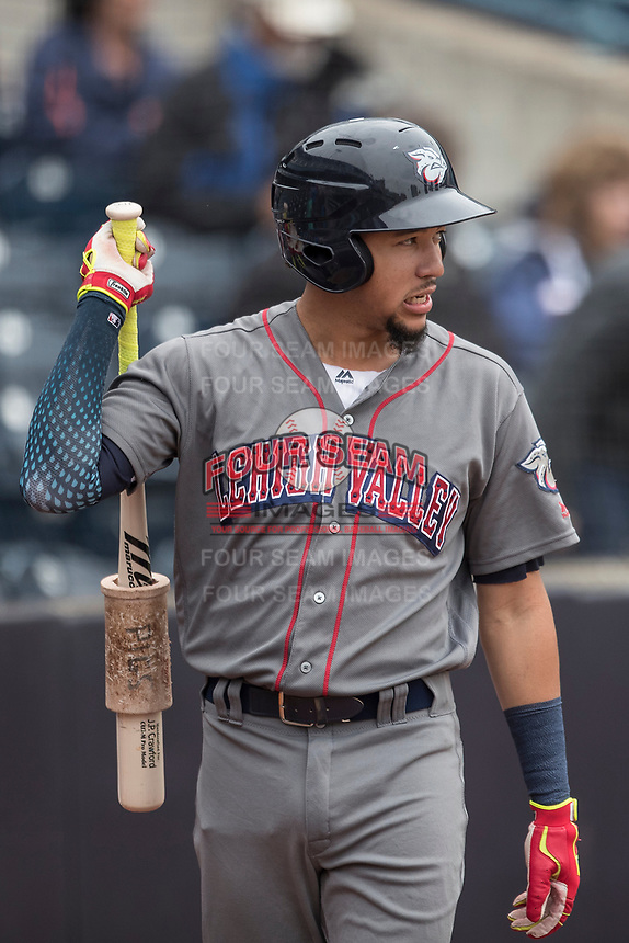 Lehigh Valley IronPigs shortstop JP Crawford (3) on deck against the Toledo Mud Hens during the International League baseball game on April 30, 2017 at Fifth Third Field in Toledo, Ohio. Toledo defeated Lehigh Valley 6-4. (Andrew Woolley/Four Seam Images)