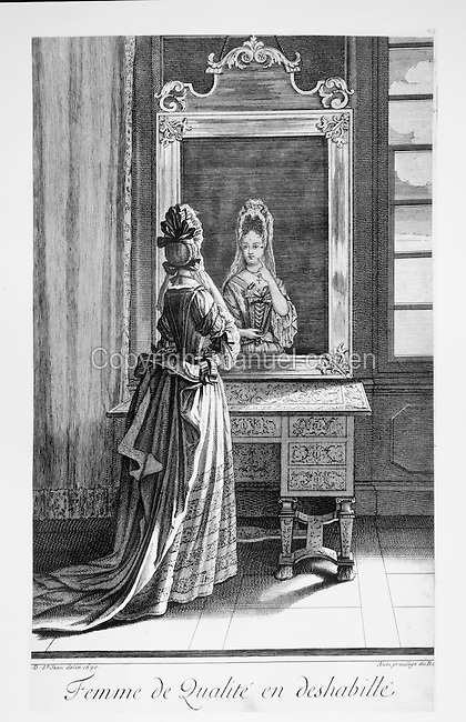Woman at her toilet in the Palace of Versailles, engraving of 1690 by Jean Dieu de Saint Jean Delin. Copyright © Collection Particuliere Tropmi / Manuel Cohen