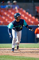 Lynchburg Hillcats catcher Angel Lopez Alvarez (20) hits a double during the first game of a doubleheader against the Frederick Keys on June 12, 2018 at Nymeo Field at Harry Grove Stadium in Frederick, Maryland.  Frederick defeated Lynchburg 2-1.  (Mike Janes/Four Seam Images)
