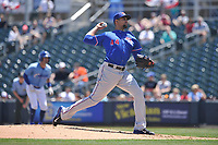 Round Rock Express starting pitcher Tyson Ross (44) throws during a game against the Omaha Storm Chasers at Werner Park on May 29, 2017 in Omaha, Nebraska.  Omaha won 10-8.  (Dennis Hubbard/Four Seam Images)