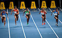 (L_R) Tahesia Harrigan from IVB, Alexandria Anderson from USA, Bianca Knight form USA, Campbell Brown form Jamaica and Jessica Young from USA, compete at Women 50 meter Dash during the U.S open track & Field in the madison Square Garden in New York, United States. 28/01/2012. Photo by Kena Betancur / viewpress