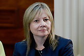 Mary Barra, CEO, General Motors listens as United States President Donald Trump speaks during a strategic and policy discussion with CEOs in the State Department Library in the Eisenhower Executive Office Building (EEOB) in Washington, DC, April 11, 2017.<br /> Credit: Olivier Douliery / Pool via CNP