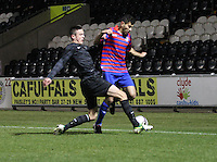 Eoghan O'Connell tackles Mo Yaqub in the St Mirren v Celtic Clydesdale Bank Scottish Premier League U20 match played at St Mirren Park, Paisley on 18.12.12..
