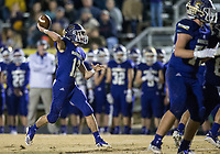 NWA Democrat-Gazette/BEN GOFF @NWABENGOFF<br /> Evan Schlinker, Booneville quarterback, throws a pass in the second quarter vs Prescott Saturday, Dec. 1, 2018, during the class 3A state semifinal game at Bearcat Stadium in Booneville.