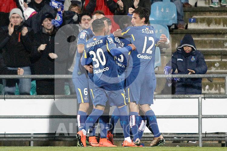 Getafe's players celebrate goal during La Liga match. March 18,2016. (ALTERPHOTOS/Acero)