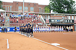 12 May 2016: The teams line up for the national anthem before the game. The Florida State University Seminoles played the University of Pittsburgh Panthers at Dail Softball Stadium in Raleigh, North Carolina in a 2016 Atlantic Coast Conference Softball Tournament quarterfinal game. Florida State won the game 8-0 by run rule with one out in the bottom of the sixth inning.