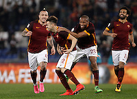 Calcio, Serie A: Roma vs Frosinone. Roma, stadio Olimpico, 30 gennaio 2016.<br /> Roma&rsquo;s Stephan El Shaarawy, second from left, celebrates with teammates Radja Nainggolan, left, Seydou Keita, second from right, Mohamed Salah, after scoring during the Italian Serie A football match between Roma and Frosinone at Rome's Olympic stadium, 30 January 2016.<br /> UPDATE IMAGES PRESS/Isabella Bonotto