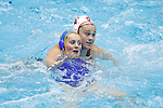 INDIANAPOLIS, IN - MAY 14: Katie Dudley (4) of Stanford University battles against Alexa Tielmann (21) of UCLA during the Division I Women's Water Polo Championship held at the IU Natatorium-IUPUI Campus on May 14, 2017 in Indianapolis, Indiana. (Photo by Joe Robbins/NCAA Photos/NCAA Photos via Getty Images)