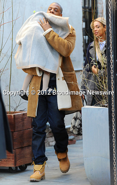 Pictured: Beyonce Knowles, Jay Z, Blue Ivy<br /> Mandatory Credit &copy; Jayme Oak/Broadimage<br /> Jay Z and wife Beyonce Knowles take their precious cargo baby Blue Ivy to lunch in a restaurant in Brooklyn in New York City<br /> <br /> 1/20/14, New York, New York, United States of America<br /> <br /> Broadimage Newswire<br /> Los Angeles 1+  (310) 301-1027<br /> New York      1+  (646) 827-9134<br /> sales@broadimage.com<br /> http://www.broadimage.com<br /> <br /> <br /> Pictured: Beyonce Knowles, Jay Z, Blue Ivy<br /> Mandatory Credit &copy; Jayme Oak/Broadimage<br /> Jay Z and wife Beyonce Knowles take their precious cargo baby Blue Ivy to lunch in a restaurant in Brooklyn in New York City<br /> <br /> 1/20/14, New York, New York, United States of America<br /> Reference: 011914_JKNY_BDG_008<br /> <br /> Broadimage Newswire<br /> Los Angeles 1+  (310) 301-1027<br /> New York      1+  (646) 827-9134<br /> sales@broadimage.com<br /> http://www.broadimage.com