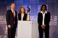 Maureen Hendricks, Chris Van Hollen, Briana Scurry. The 2010 US Soccer Foundation Gala was held at City Center in Washington, DC.