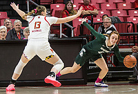 COLLEGE PARK, MD - FEBRUARY 03: Faith Masonius #13 of Maryland blocks Taryn McCutcheon #4 of Michigan State during a game between Michigan State and Maryland at Xfinity Center on February 03, 2020 in College Park, Maryland.