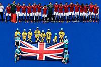 2nd February 2020; Sydney Olympic Park, Sydney, New South Wales, Australia; International FIH Field Hockey, Australia versus Great Britain; Great Britain during their national anthem