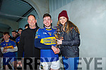 Johnny Stack North Kerry Board Chairman with Sandra Enright who presented Barry O'Mahony St Senans with the Man of the Match award.