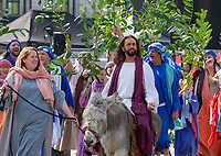 Image ©Licensed to i-Images Picture Agency. 19/04/2019. London, United Kingdom. <br /> The Wintershall players perform the story of Jesus on Good Friday in Trafalgar Square with James Burke-Dunsmore playing the part of jesus.<br /> The Passion of Jesus performed by The Wintershall Players. Trafalgar Square. Picture by Mark Thomas / i-Images