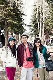 USA, Colorado, Aspen, Japanese tourists on vacation in downtown Aspen