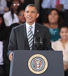 U.S. President Barack Obama delivers his third annual Back-to-School Speech at Benjamin Banneker Academic High School in Washington, DC. September 28, 2011  Copyright EML/Rockinexposures.com.