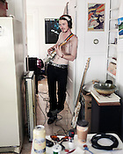 Ryan Gustafson records with James Wallace (playing drums in the other room) during a hot day in March, 2010.