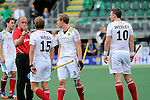 The Hague, Netherlands, June 08: Benjamin Weiss #15 of Germany discusses with the umpire during the field hockey group match (Men - Group B) between the Black Sticks of New Zealand and Germany on June 8, 2014 during the World Cup 2014 at Kyocera Stadium in The Hague, Netherlands. Final score 3-5 (1-3) (Photo by Dirk Markgraf / www.265-images.com) *** Local caption *** Benjamin Weiss #15 of Germany, Linus Butt #3 of Germany, Christopher Wesley #10 of Germany