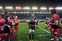 Stuart Hooper and the Bath Rugby team are applauded off the field after the match. European Rugby Champions Cup match, between RC Toulon and Bath Rugby on January 10, 2016 at the Stade Mayol in Toulon, France. Photo by: Patrick Khachfe / Onside Images
