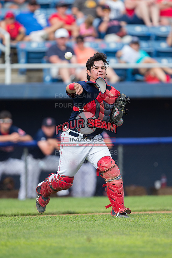 Salem Red Sox catcher David Sopilka (20) makes a throw to first base against the Lynchburg Hillcats at LewisGale Field at Salem Memorial Baseball Stadium on August 7, 2016 in Salem, Virginia.  The Red Sox defeated the Hillcats 11-2.  (Brian Westerholt/Four Seam Images)