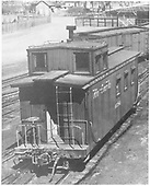 3/4 view of caboose at Montrose.<br /> D&amp;RGW  Montrose, CO  probably 1952