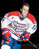 Josh Holmstrom (UML - 12) - The University of Massachusetts-Lowell River Hawks defeated the University of Alabama-Huntsville Chargers 3-0 on Friday, November 25, 2011, at Tsongas Center in Lowell, Massachusetts.