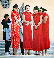 These poor award presenters were forced to stand in the freezing cold through the end of a prolonged ceremony at the Sanmenxia pit yards.
