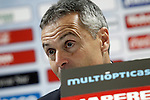 Getafe's coach Fran Escriba in press conference after La Liga match. January 30,2016. (ALTERPHOTOS/Acero)