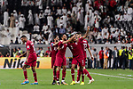 Hamid Ismaeil Khaleefa of Qatar (C) celebrating his score with teammates during the AFC Asian Cup UAE 2019 Semi Finals match between Qatar (QAT) and United Arab Emirates (UAE) at Mohammed Bin Zaied Stadium  on 29 January 2019 in Abu Dhabi, United Arab Emirates. Photo by Marcio Rodrigo Machado / Power Sport Images