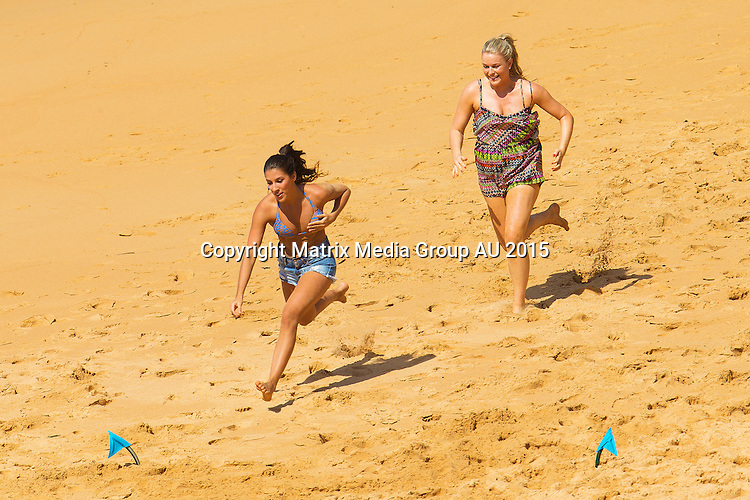 20  MARCH 2015 SYDNEY AUSTRALIA<br /> <br /> EXCLUSIVE PICTURES<br /> <br /> The Bachelor Australia 2015 Sam Wood takes seven of his girls to the beach at Narrabeen.<br /> <br /> *No internet without clearance*.MUST CALL PRIOR TO USE +61 2 9211-1088. Matrix Media Group.Note: All editorial images subject to the following: For editorial use only. Additional clearance required for commercial, wireless, internet or promotional use.Images may not be altered or modified. Matrix Media Group makes no representations or warranties regarding names, trademarks or logos appearing in the images.