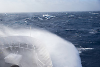 Waves breaking over the bow in the Southern Ocean