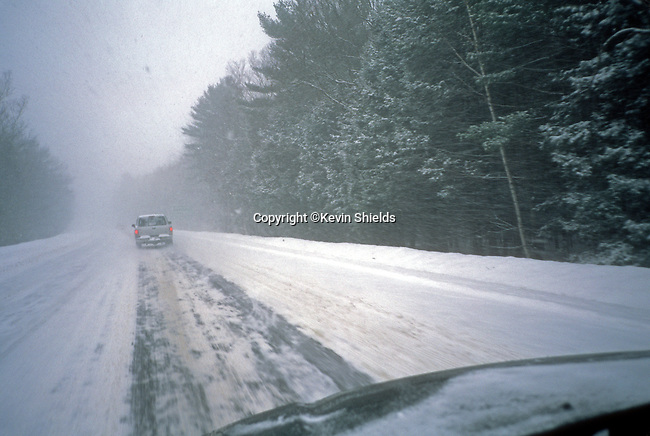 Winter driving on a highway in Maine, USA