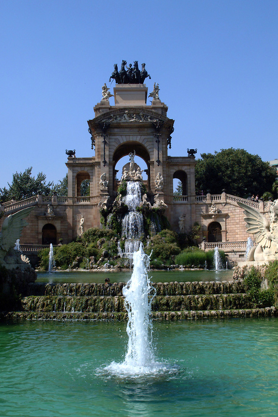 Symmetrical view during the day of ornate fountain in Ciudadela Park in Barcelona, Spain.