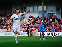 Peterborough United's Matthew Godden celebrates scoring his side's second goal <br /> <br /> Photographer Chris Vaughan/CameraSport<br /> <br /> The EFL Sky Bet League One - Scunthorpe United v Peterborough United - Saturday 13th October 2018 - Glanford Park - Scunthorpe<br /> <br /> World Copyright &copy; 2018 CameraSport. All rights reserved. 43 Linden Ave. Countesthorpe. Leicester. England. LE8 5PG - Tel: +44 (0) 116 277 4147 - admin@camerasport.com - www.camerasport.com