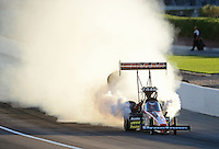 Oct. 27, 2012; Las Vegas, NV, USA: NHRA top fuel driver Spencer Massey blows an engine during qualifying for the Big O Tires Nationals at The Strip in Las Vegas. Mandatory Credit: Mark J. Rebilas-