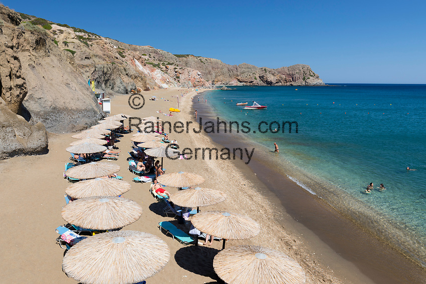 Greece, South Aegean, Cyclades, Milos island: Paliochori Beach on south east coast | Griechenland, Suedliche Aegaeis, Kykladen, Insel Milos: Paliochori Beach an der Sued-Ost-Kueste