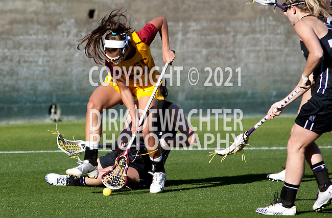 Los Angeles, CA 02/09/13 - Katie Austin (USC #24) in action during the Northwestern vs USC NCAA Women Lacrosse game at the Los Angeles Colliseum.