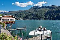 Switzerland, Ticino, Morcote at Lago Lugano: boat landing stage | Schweiz, Tessin, Morcote am Luganer See: Bootsanleger auch fuer kleine Boote