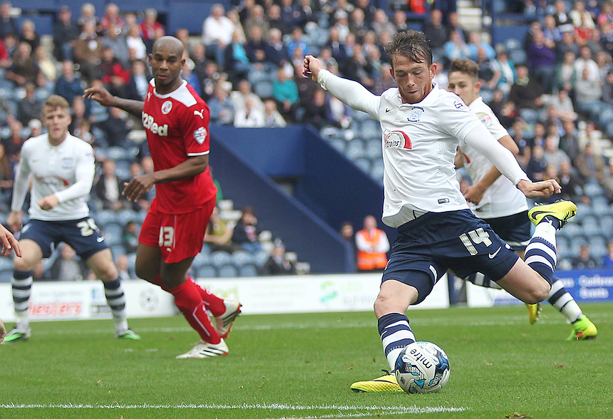 Preston North End's Joe Garner has his first half close range shot charged down<br /> Photographer Rich Linley/CameraSport<br /> <br /> Football - The Football League Sky Bet League One - Preston North End v Crawley Town - Saturday 20th September 2014 - Deepdale - Preston<br /> <br /> &copy; CameraSport - 43 Linden Ave. Countesthorpe. Leicester. England. LE8 5PG - Tel: +44 (0) 116 277 4147 - admin@camerasport.com - www.camerasport.com