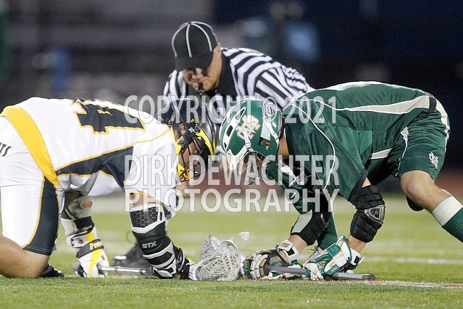 Placentia, CA 05/14/10 - Ryan Kole (MC # 5) and Zach Handy (Foothill # 44) in action during the Mira Costa vs Foothill boys lacrosse game for the 2010 Los Angeles / Orange County CIF Championship.