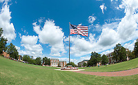 Drill Field flag billowing in the breeze. (photo by Beth Wynn / © Mississippi State University)